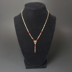 VINTAGE AVON Ruby Red Crystal Necklace